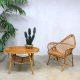 Mid century Janine Abraham rattan lounge set, vintage rotan stoel Janine Abraham