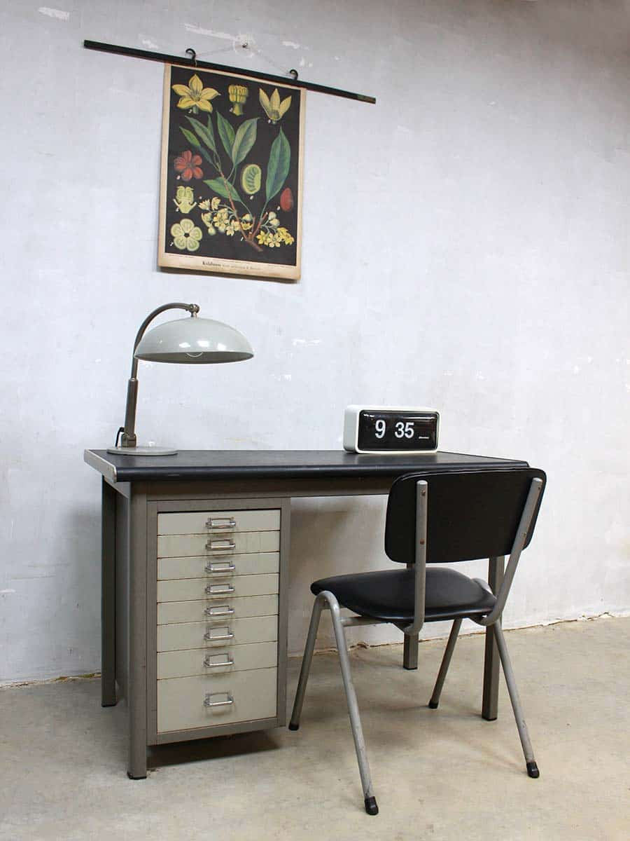 industrial vintage writing desk backfield industrieel. Black Bedroom Furniture Sets. Home Design Ideas