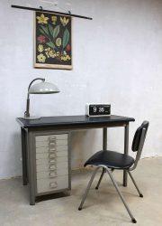 vintage Backfield writing desk Industrial, vintage metalen bureau industrieel