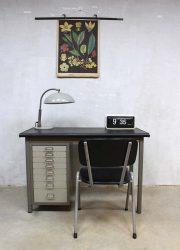vintage writing desk Backfield metalen bureau