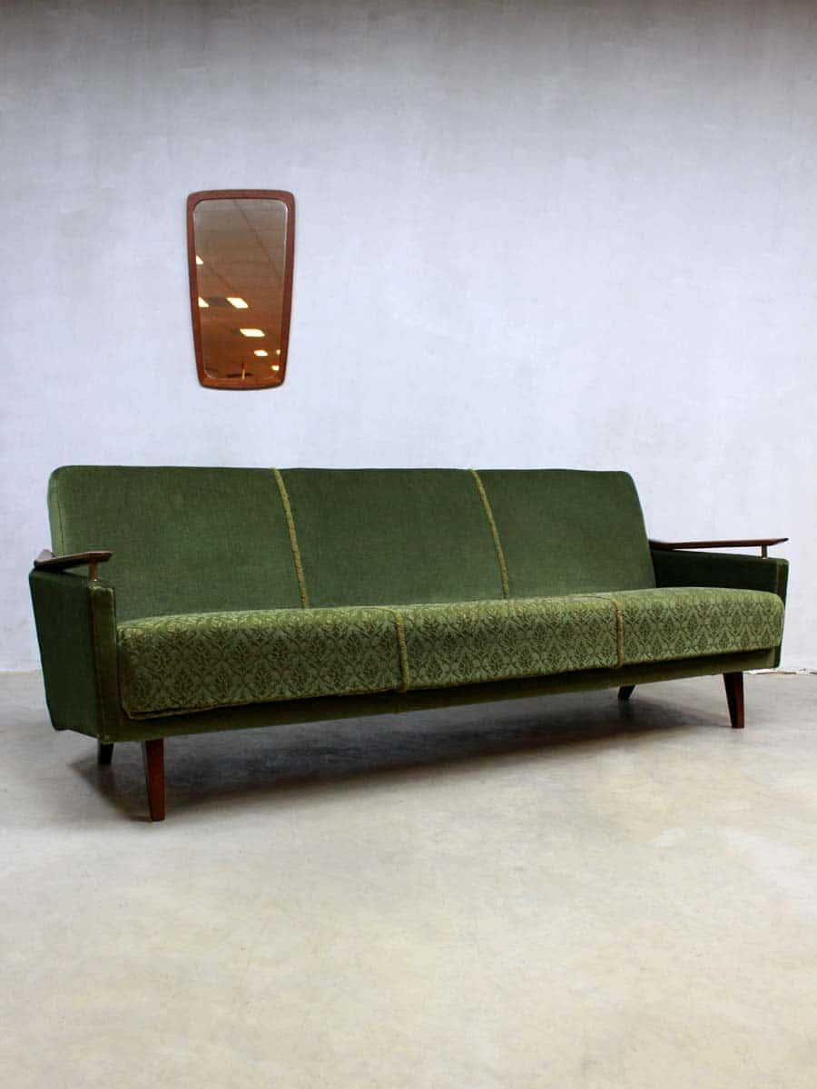 Vintage velours lounge bank fifties vintage velvet sofa for Velours bank