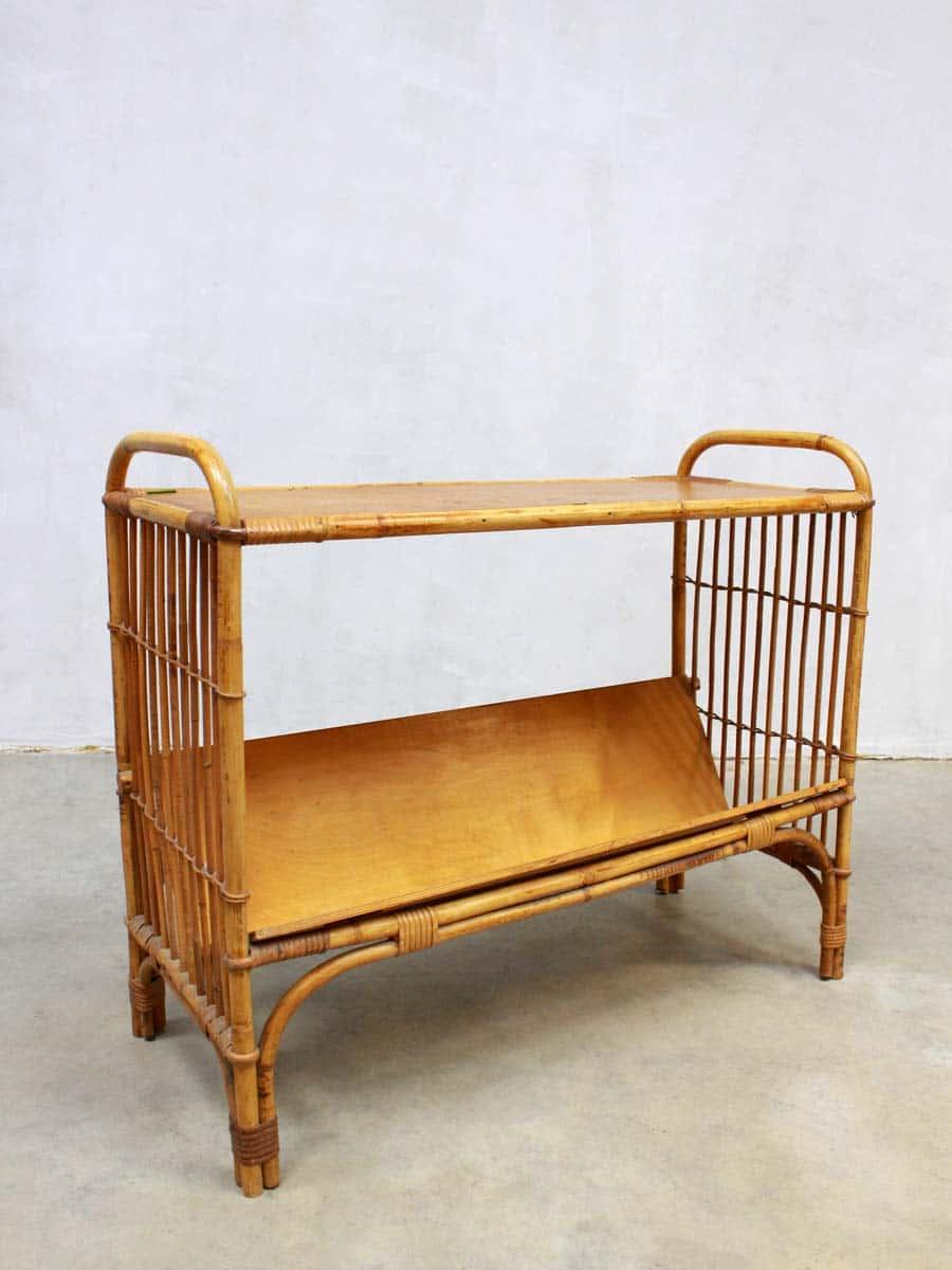 Mid century bamboo magazine rack vintage bamboe lectuurbak bijzettafel - Rotanbank plaatsen ...