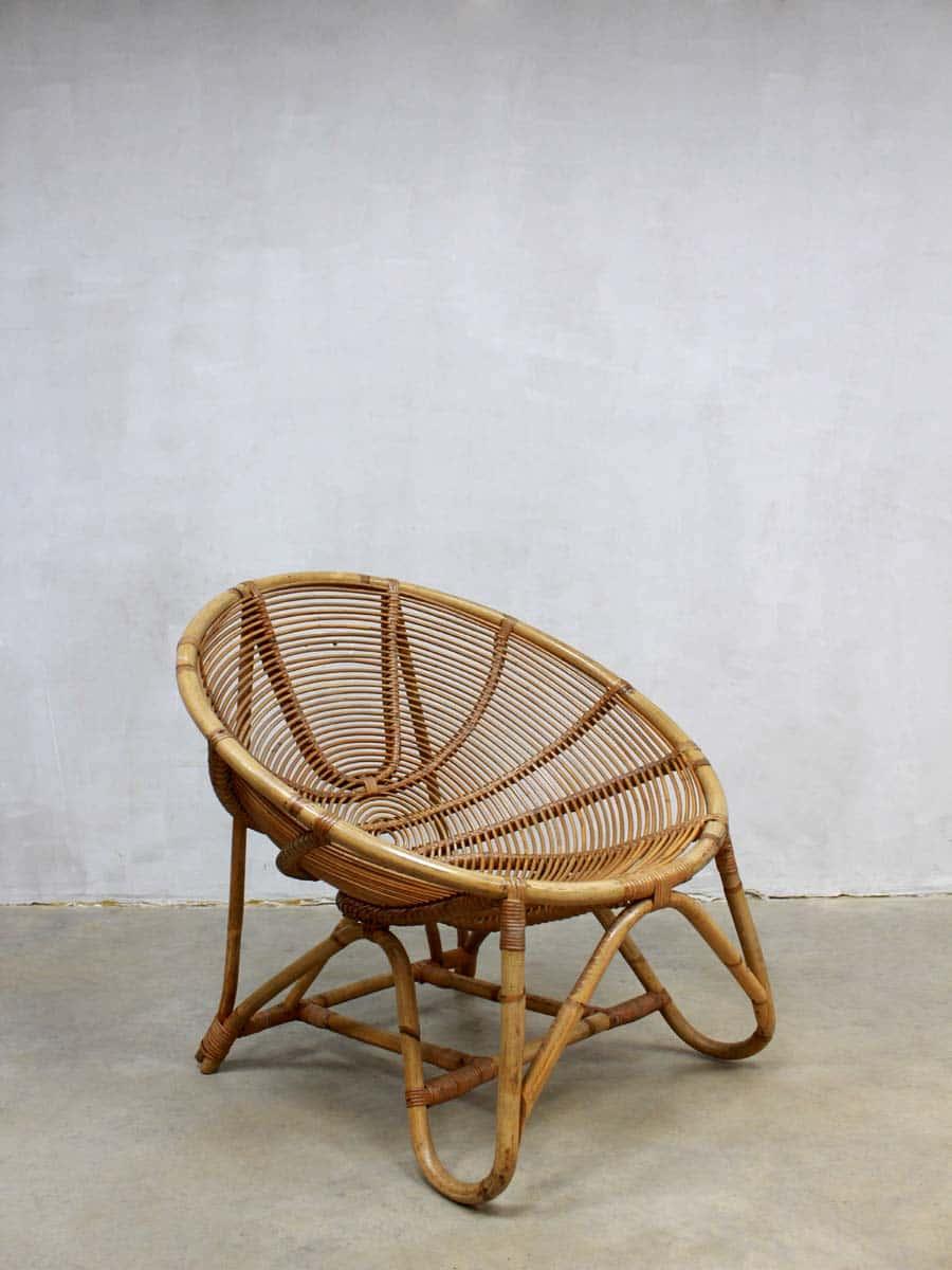 Mid Century Vintage Rotan Lounge Set Rohe Rattan Chair