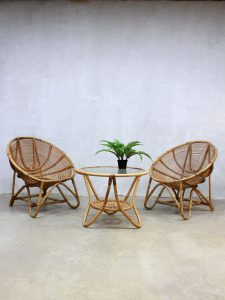 rotan vintage stoelen & salontafel, vintage rattan bamboo chairs & coffeetable