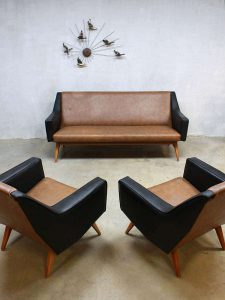 Mid century seating group Mad Men style lounge bank & fauteuils
