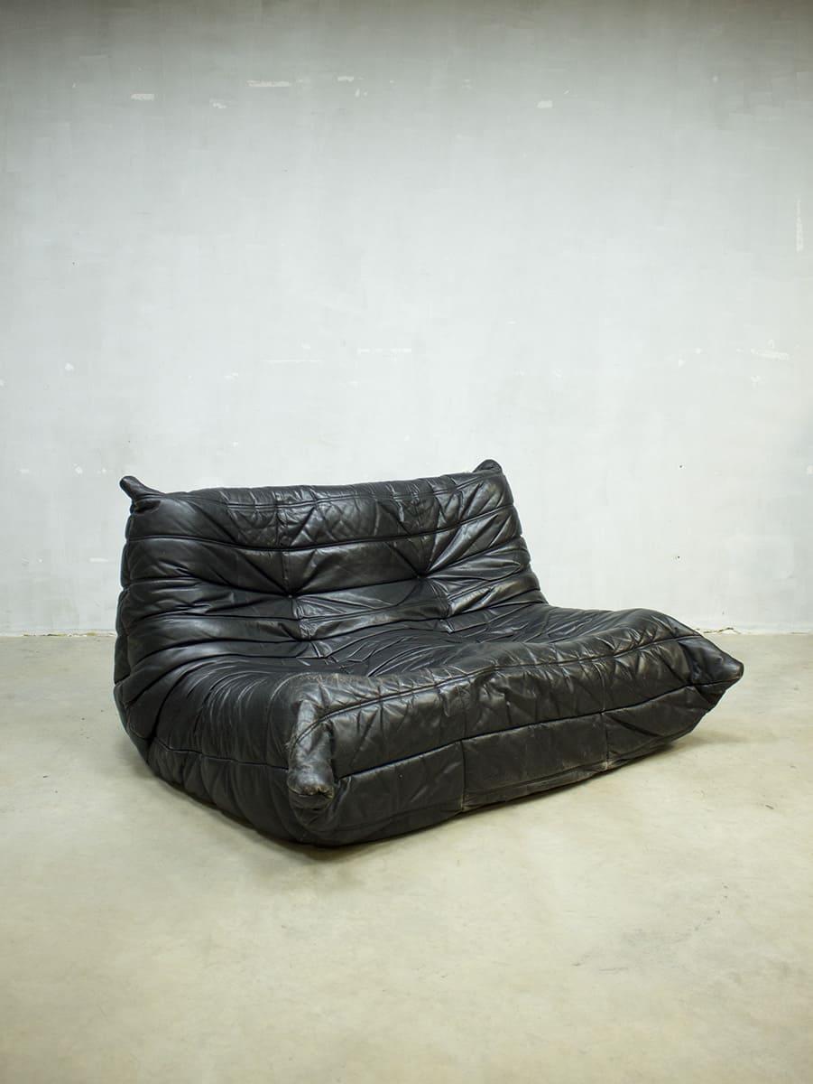 Vintage Design Leren Bank.Vintage Leren Bank Togo Ligne Roset Midcentury Design Sofa