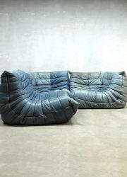 Vintage leren bank Togo Ligne Roset, midcentury design sofa Togo Ligne Roset