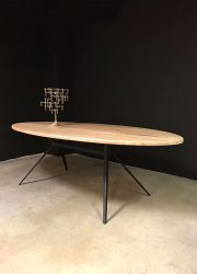 wooden diningtable oval Industrial conference table, ovale tafel industrieel