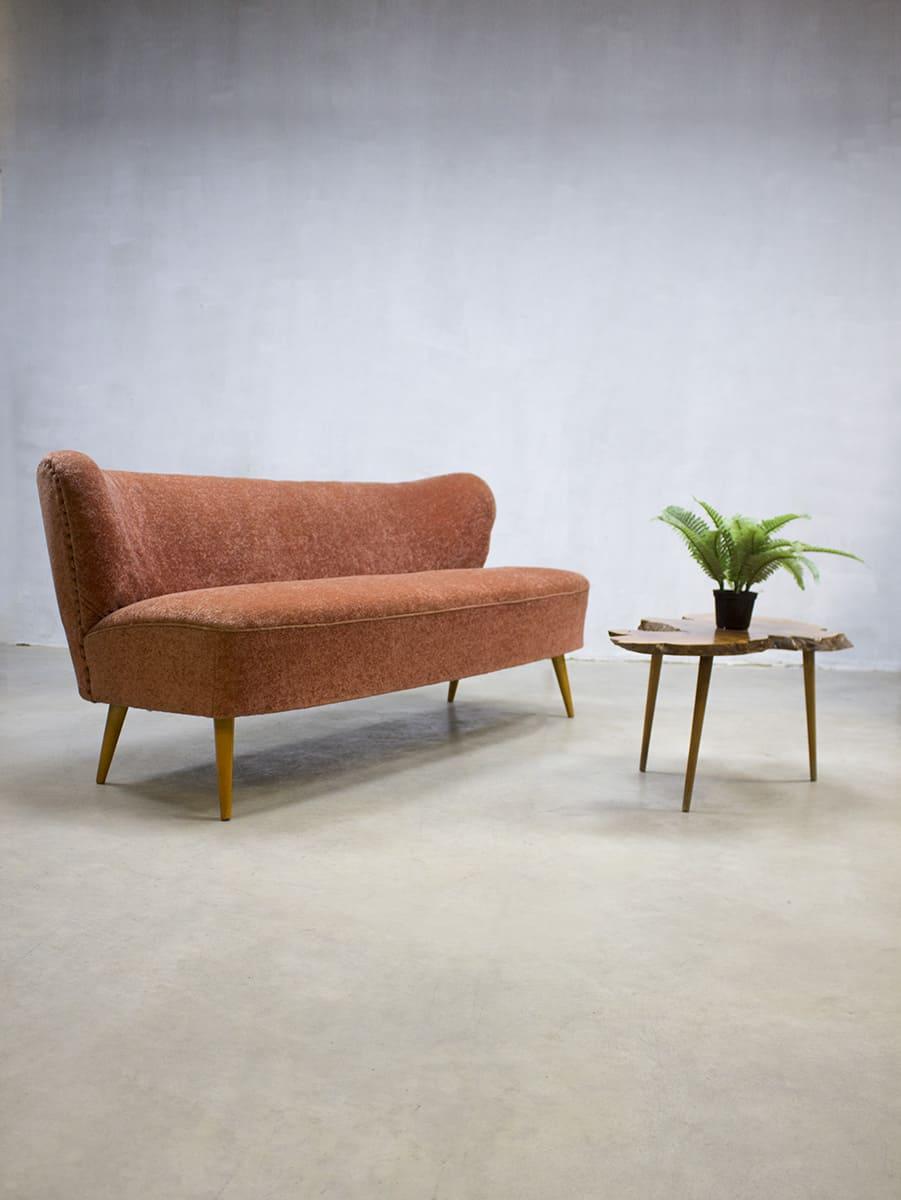 Bankstel Jaren 20.Jaren 50 Vintage Design Cocktail Bank Lounge Bank Sofa Fifties