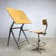 vintage Reply Friso Kramer tekentafel bureau industrieel Ahrend de Cirkel drawing table desk stool
