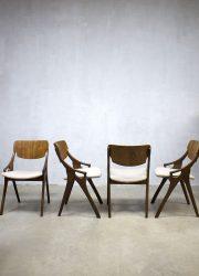 Vintage Deens design eetkamer stoelen Hovmand Olsen, Danish dinner chairs H. Olsen