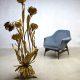 Midcentury modern brass flower bloemlamp Hollywood regency style