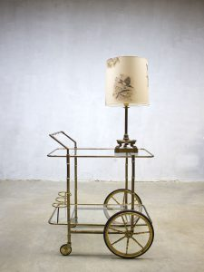 Vintage koperen vogel tafellamp, rare brass bird table lamp