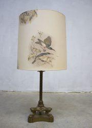 vintage koperen brass vogels tafellamp jaren 60