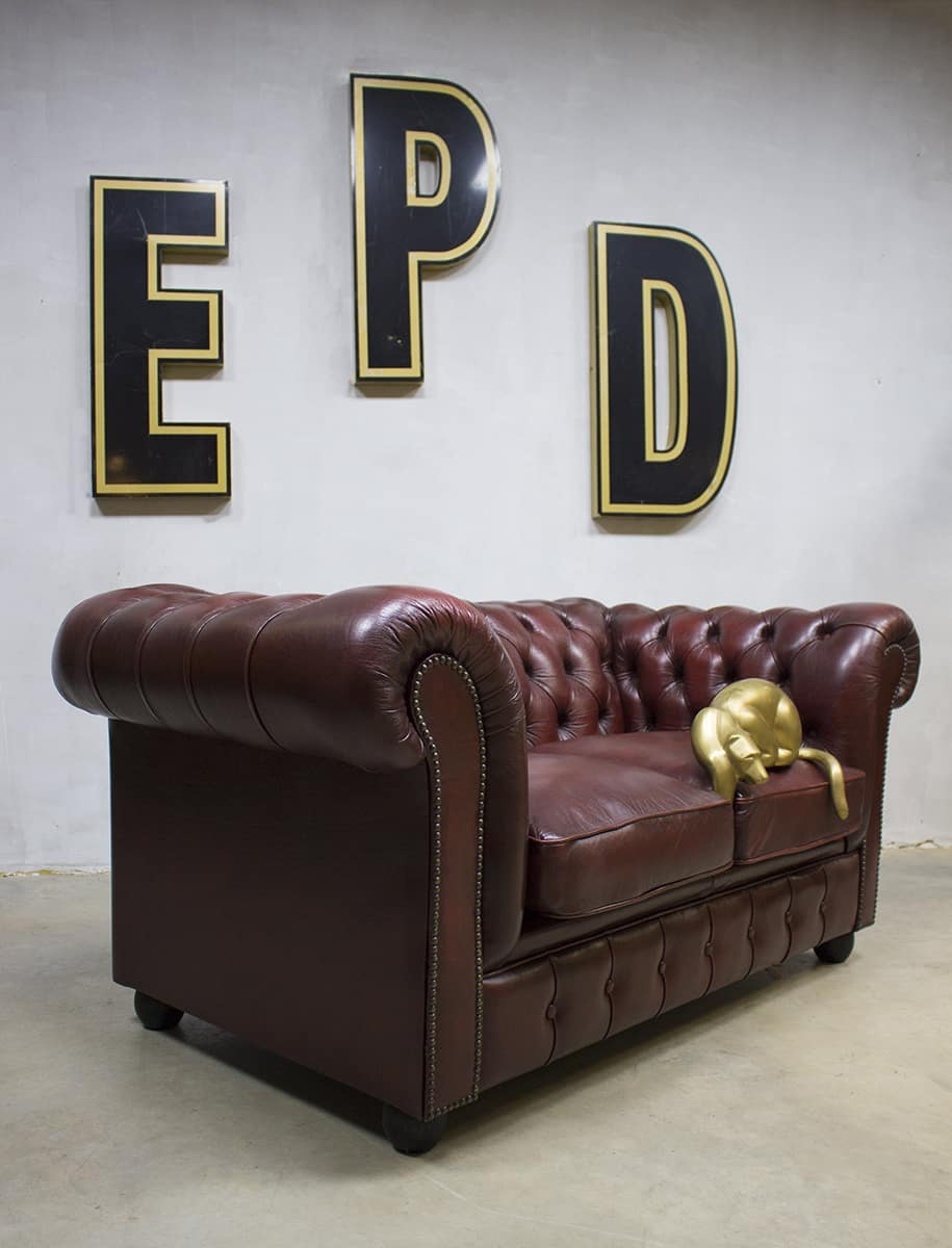 Rode Leren Design Bank.Vintage Rood Leren Bank Chesterfield Leather Sofa Red