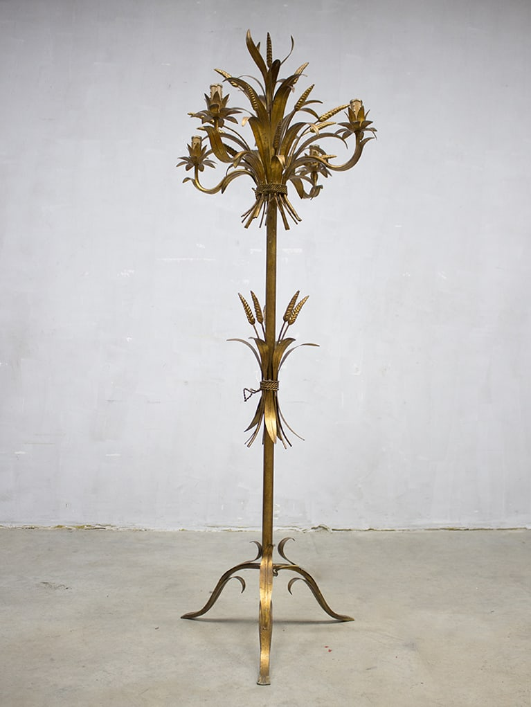 Vintage Gouden Koren Lamp Coco Chanel Hollywood Regency