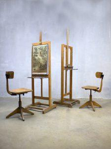 Vintage houten schildersezel, vintage wooden painter's easel