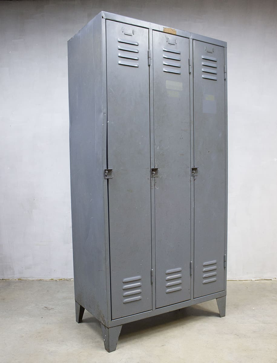 Vintage Industri 235 Le Lockerkast Industrial Locker Cabinet
