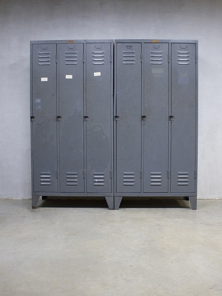Vintage Industri 235 Le Lockerkast Industrial Locker Cabinet