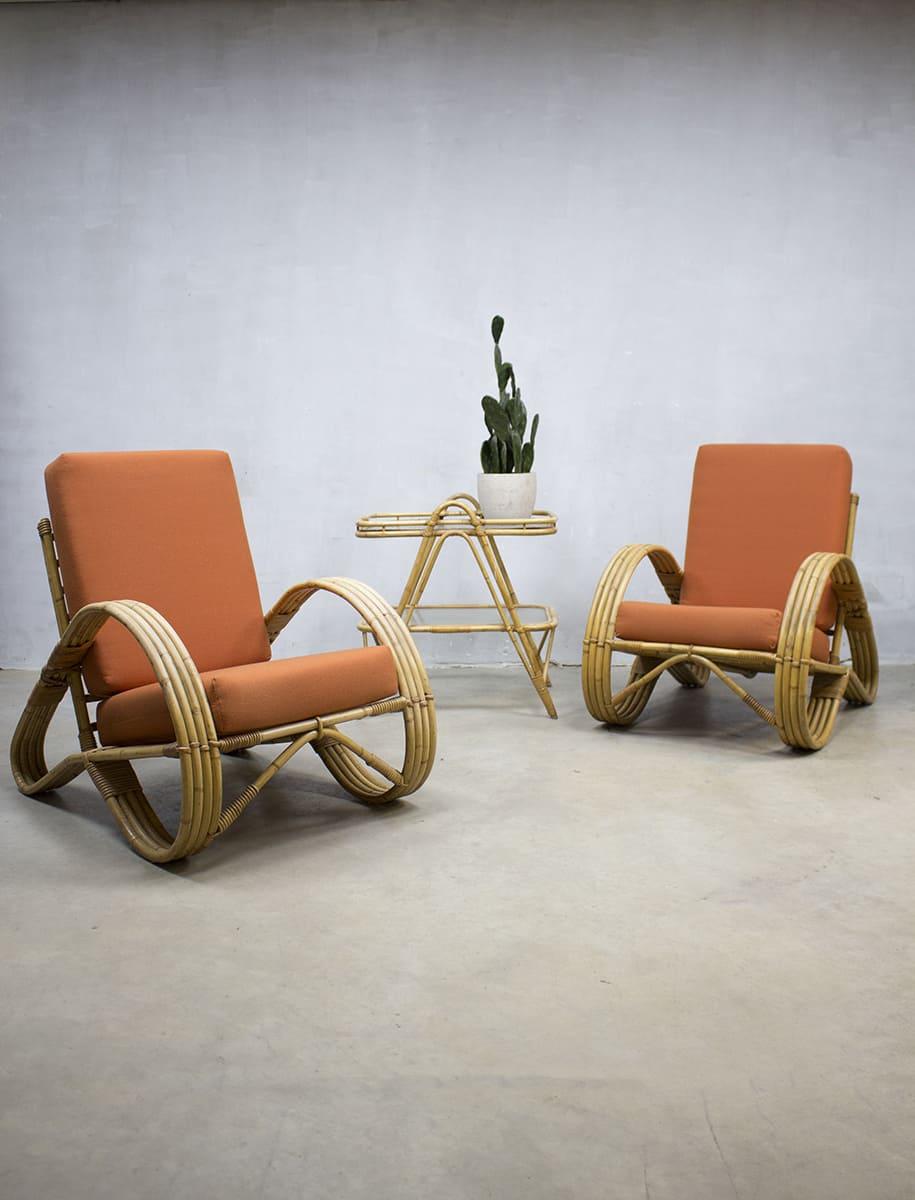 Vintage rotan bamboe lounge set, vintage rattan bamboo chairs