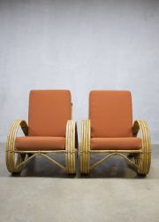 midcentury Paul Frankl bamboo armchair lounge chairs