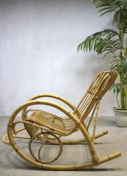 vintage rattan bamboo rocking chair Rohe Noordwolde