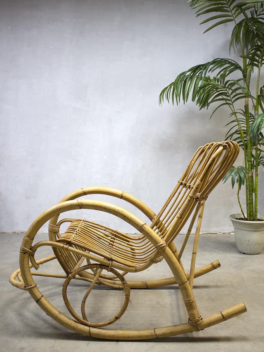 Rotan Schommelstoel Te Koop.Vintage Rattan Bamboo Rocking Chair Rohe Vintage Bamboe