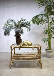 Rohe Noordwolde rattan bamboo table, rotan bamboe vintage salontafel