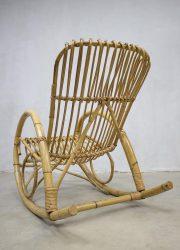 vintage rattan bamboe schommelstoel Rohe Noordwolde