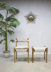 Vintage retro safari stoel kruk