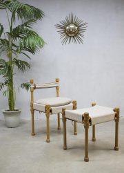 Vintage safari stoel kruk, vintage easy chair stool hocker