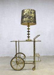 Vintage koperen lamp Hollywood regency stijl, midcentury vintage brass table lamp