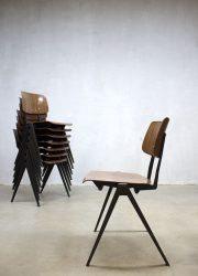 Vintage Galvanitas stacking dinner chairs sixties dutch design minimalism