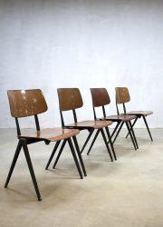 Vintage industrial Galvanitas stacking dinner chairs