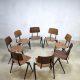 Vintage industriële stapelstoelen schoolstoelen Galvanitas stacking chairs