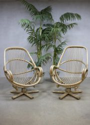 mid century swivel bamboo chairs manou chair vintage