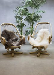 vintage mid century design bamboo swivel chairs