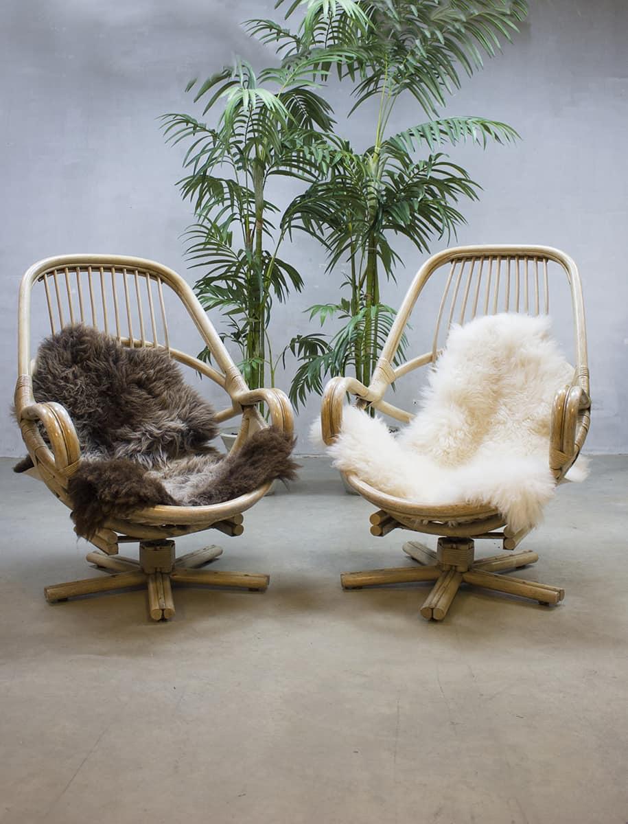 vintage mid century design bamboo swivel chairs