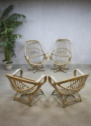 vintage bamboe lounge set stoelen fauteuils, vintage bamboo seating group lounge chairs