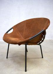 vintage balloon chair Lusch, vintage suède kuipstoel