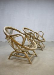 Rare vintage bamboo lounge chairs, zeldzame vintage bamboe lounge fauteuils
