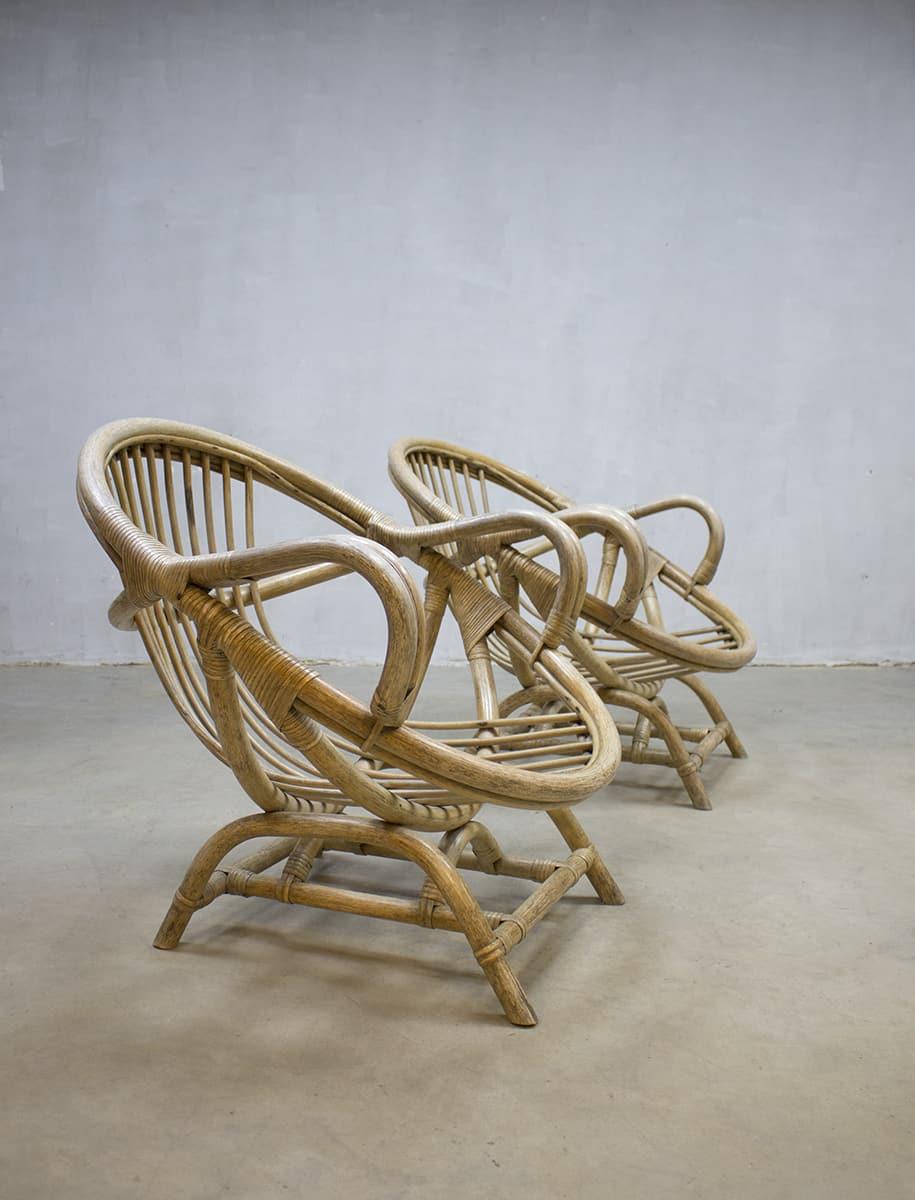 rare vintage bamboo lounge chairs zeldzame vintage bamboe lounge fauteuils