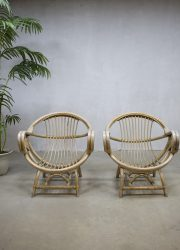 vintage bamboe stoelen fauteuils rotan, vintage bamboo arm chairs rattan