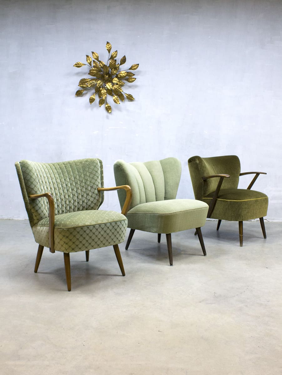 Vintage mid century fifties design cocktail chairs for Vintage stoelen