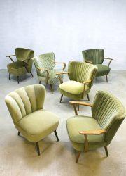 Vintage mid century fifties cocktail chairs Artifort, vintage cocktail stoelen velours