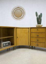 vintage hoekkast teakhout Deense stijl dressoir cabinet