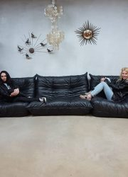Midcentury vintage design leren lounge bank sofa Togo Ligne Roset