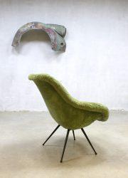 vintage retro kuipstoel fluffy stoel Eclectic stijl jaren 50