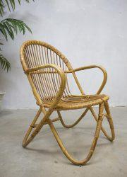 vintage rotan stoel fauteuil bamboe, vintage rattan chair bamboo Rohe Noordwolde