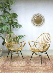 vintage rattan lounge chair chairs bamboo Rohe Noordwolde